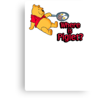 Where is Piglet? Winnie frying bacon. Canvas Print