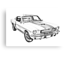1965 GT350 Mustang Muscle Car Illustration Canvas Print