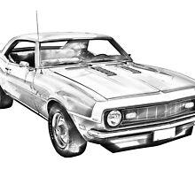 1968 Chevrolet Camaro 327 Muscle Car Illustration by KWJphotoart