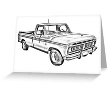 1975 Ford F100 Explorer Pickup Truck Illustrarion Greeting Card