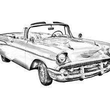 1957 Chevrolet Bel Air Convertible Illustration by KWJphotoart