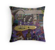 Cartoon Dinosaur Museum Throw Pillow