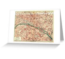 Vintage Map of Paris France (1910) Greeting Card