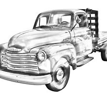 1950 Chevrolet Flat Bed Pickup Truck Illustration by KWJphotoart