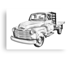 1950 Chevrolet Flat Bed Pickup Truck Illustration Canvas Print