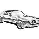 1980 Pontiac Trans Am Muscle Car Illustration by KWJphotoart