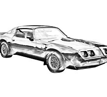 1980 Pontiac Trans Am Muscle Car Illustration by KWJphotoart