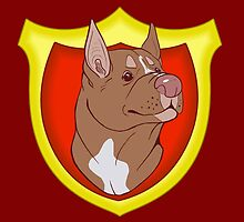Pit Bull Pride- Red Point with Crest by cinderwolfeh