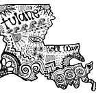Hipster Tulane/Louisiana Outline by alexavec