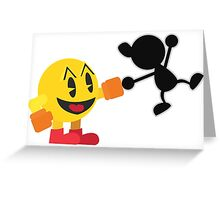 Pac-Man and Mr. Game and Watch Vector Greeting Card