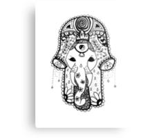 Hippie Elephant Hamsa Metal Print