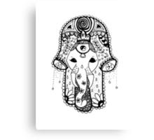 Hippie Elephant Hamsa Canvas Print