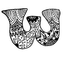 "Hipster Letter ""W"" Zentangle Photographic Print"