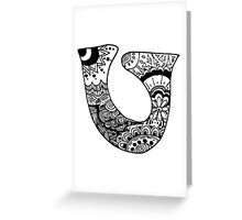 "Hipster Letter ""U"" Zentangle Greeting Card"