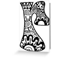 "Hipster Letter ""R"" Zentangle Greeting Card"