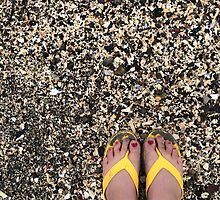 Painted Toes in Yellow FlipFlops  by GoddessChrissy