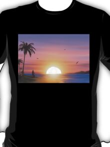 Guitarist on tropical beach at sunset T-Shirt