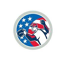 American Baseball Pitcher Throwing Ball Retro by patrimonio