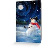 Snowman Gazes at Night Sky & Moon - Folk Painting .  Greeting Card
