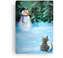Cute Happy Snowman & Cat in Winter - Folk Painting Canvas Print