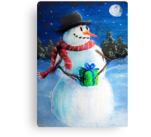 Cute Happy Snowman Holding Gift ACEO Folk Painting Canvas Print