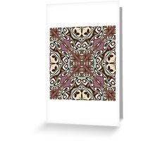 Mauve Taupe Sea Foam Nouveau Deco Pattern Greeting Card
