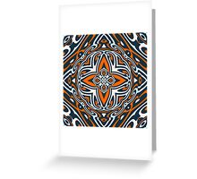 Orange Teal Blue Ethnic Turkish Mosaic Pattern Greeting Card