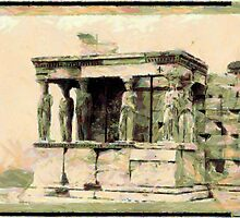 A digital painting of The Erecthion - Caryatide Porch, Athens, Greece by Dennis Melling