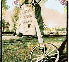 A digital painting of  Windmill at Water Mill, Montauk Highway & Halsey Lane, Water Mill, Suffolk County, NY by Dennis Melling