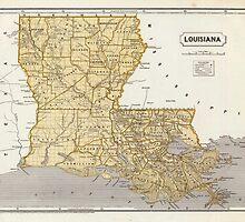 Vintage Map of Louisiana (1845) by BravuraMedia