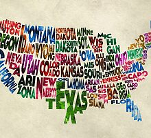 States of United States Typographic Map - Parchment Style by A. TW