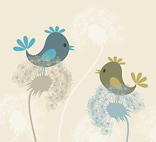 Bird on a dandelion by Aleksander1