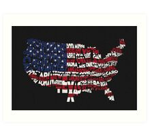 United States Typographic Map Flag Black Background Art Print
