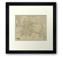 Vintage Map of Downtown Houston (1913) Framed Print