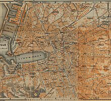 Vintage Map of Marseille France (1914) by BravuraMedia