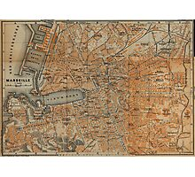 Vintage Map of Marseille France (1914) Photographic Print