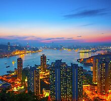 Hong Kong sunset by kawing921