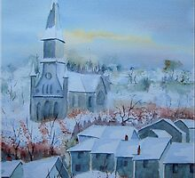 Snow in a French Village by FrancesArt