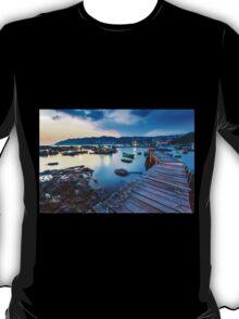 Sunset at wooden bridge T-Shirt