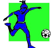 Blue Soccer Player by kwg2200