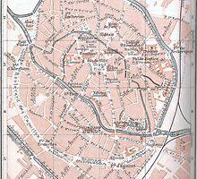 Vintage Map of Mechelen Belgium (1905) by BravuraMedia