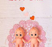 Love is... Valentine card (Kewpie version) by Zoe Power