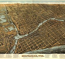 Vintage Pictorial Map of Milwaukee (1872) by BravuraMedia
