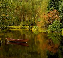 Row boat on a lake in autumn by GryThunes