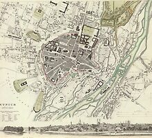 Vintage Map of Munich Germany (1832) by BravuraMedia
