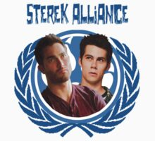 The Ultimate Sterek Alliance II Blue T-Shirt [Small Logo] by thescudders