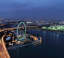Singapore Flyer - View from SkyPark at Night by Holger Mader
