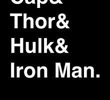 Cap & Thor & Hulk & Iron Man. (inverse) by Samantha Weldon