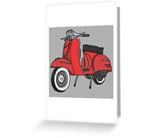 Vespa Illustration - Red Greeting Card