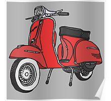 Vespa Illustration - Red Poster